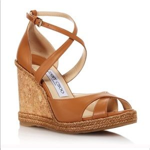 Jimmy Choo Alanah 105 Caramel Wedges